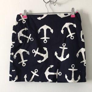 J. Crew Navy Blue Anchor Skirt Size 2